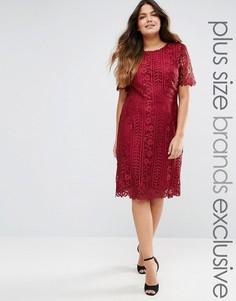 Цельнокройное платье с кружевным верхним слоем Truly You Premium - Красный