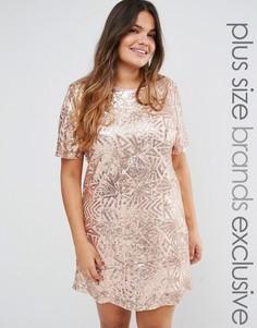 Платье с короткими рукавами и сплошной декоративной отделкой Truly You - Золотой