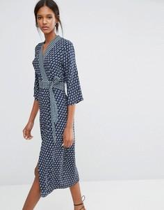 Платье миди с запахом и поясом Closet - Мульти