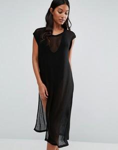 Пляжное сетчатое платье миди с высокими разрезами Evil Twin - Черный