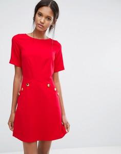 Платье с короткими рукавами и пуговицами Closet - Красный