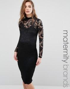 Кружевное облегающее платье для беременных Missguided Maternity - Черный