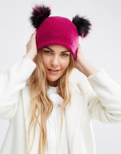 Helene Berman Double Pom Pom Pull On Beanie Hat - Розовый