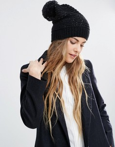 Helene Berman Sequin Slouchy Beanie Hat With Pom - Черный