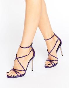 Фиолетовые босоножки на каблуке с ремешками Office Spindle - Фиолетовый