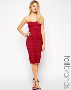 Платье-футляр с лифом бандо True Decadence Tall - Красный