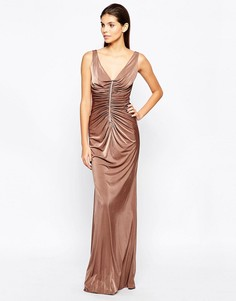 City Goddess Slinky Maxi Dress with Diamante Trim and Ruching Detail - Бежевый