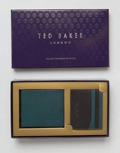 Подарочный набор с бумажником и визитницей Ted Baker - Зеленый