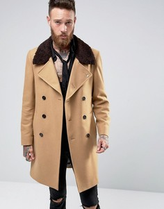 Двубортное пальто с воротником борг Noose & Monkey - Рыжий