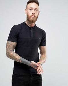 Черная футболка-поло в фактурную полоску Farah - Черный