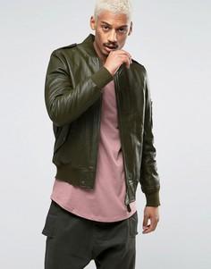 Кожаная куртка-пилот с карманом MA1 от Black Dust - Зеленый