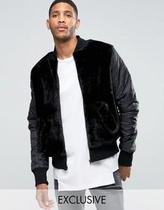 Плюшевая куртка‑пилот с нейлоновыми рукавами The New County - Черный