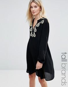 Платье с вышивкой у горловины Brave Soul Tall - Черный