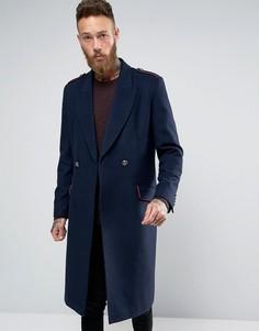 Темно-синее пальто в стиле милитари с добавлением шерсти ASOS - Темно-синий