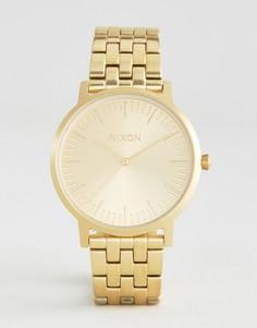Золотистые наручные часы из нержавеющей стали Nixon Porter - Золотой
