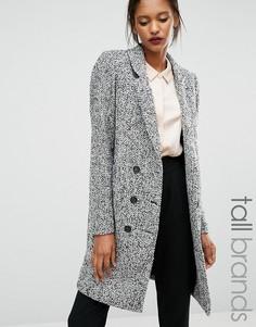 Фактурное двубортное пальто Y.A.S Tall Dalay - Серый