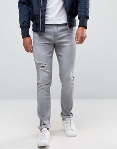 Серые зауженные джинсы с прорехами Hoxton Denim - Серый