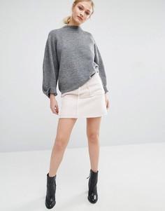 Мини-юбка с отделкой искусственной овечьей шерстью J.O.A - Кремовый