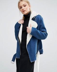 Джинсовая байкерская куртка с подкладкой из искусственной овечьей шерсти J.O.A - Синий