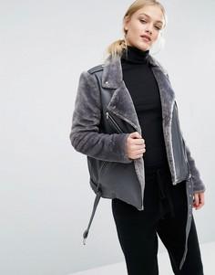 Байкерская куртка со вставками из искусственного меха J.O.A - Серый