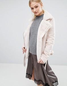 Байкерская куртка из искусственной овечьей шерсти J.O.A - Кремовый