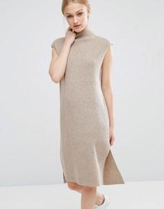 Трикотажное платье миди с отделкой J.O.A - Кремовый