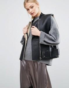 Байкерская куртка-жилет с искусственной овечьей шерстью J.O.A - Черный