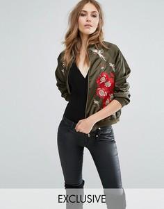 Куртка-пилот с вышивкой и декоративной отделкой A Star Is Born - Зеленый