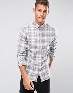 Рубашка в клетку с воротником на пуговицах Selected Homme Plus - Черный