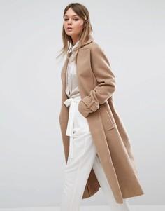 Строгое длинное пальто Fashion Union - Бежевый