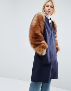 Куртка с рукавами из искусственного меха ASOS WHITE - Темно-синий