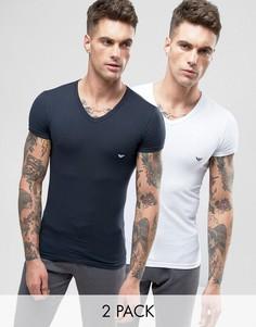 2 облегающие футболки стретч с V‑образным вырезом Emporio Armani - Мульти