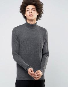 Вязаный джемпер-водолазка Selected Homme - Серый
