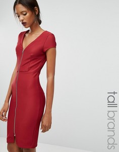 Облегающее платье в рубчик на молнии спереди Y.A.S Tall Alice - Красный