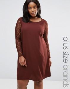 Платье с кружевными рукавами Junarose Plus Clarissa - Красный