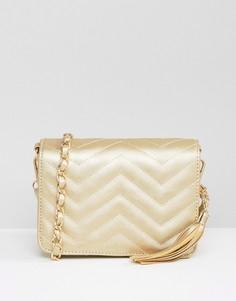 Стеганая сумка на плечо цвета металлик Yoki Fashion - Золотой