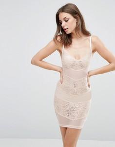 Платье из сетки и кружева Wolf & Whistle - Розовый