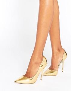 Золотистые зеркальные туфли-лодочки Office Shadow - Золотой