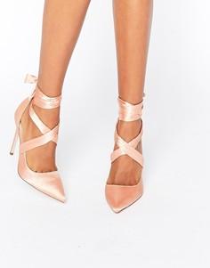 Атласные туфли на каблуке с острым носом и шнуровкой ASOS PINO - Бежевый