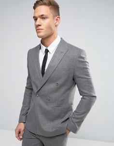Серый фактурный пиджак скинни двубортного кроя ASOS - Серый