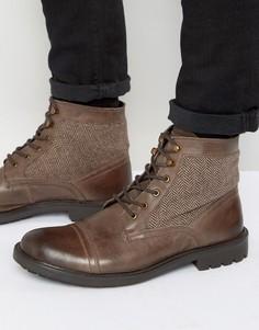 Ботинки в стиле милитари с твидовой отделкой Dune - Коричневый