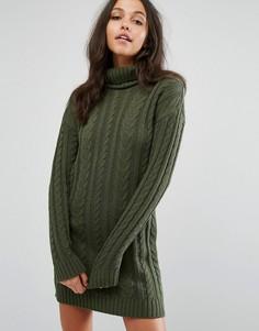 Платье мини с косами и отворачивающимся воротником Missguided - Зеленый