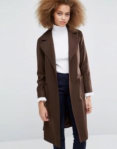 Коричневое пальто с завязкой на талии Helene Berman Becca - Коричневый