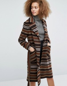 Пальто в коричневую и бежевую полоску с поясом Helene Berman Becca - Мульти