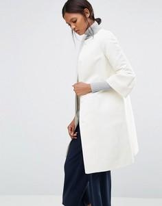 Фактурное пальто цвета слоновой кости с расклешенными рукавами Helene Berman Gigi - Белый