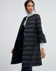 Фактурное темно-синее с черным пальто с расклешенными рукавами Helene Berman Gigi - Темно-синий