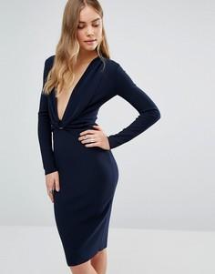 Платье с глубоким декольте и длинными рукавами Bec & Bridge Winkworth - Темно-синий