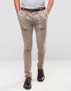 Серые супероблегающие брюки с глубокими карманами ASOS - Серый