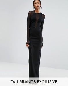 Черное платье макси с длинными рукавами и сетчатыми вставками TTYA Seredo - Черный Taller Than Your Average