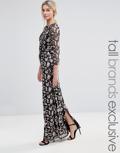 Премиум-платье макси с вышивкой Little Mistress Tall - Мульти